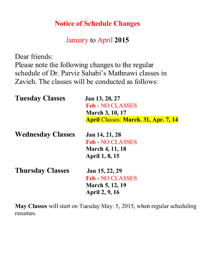 Notice of Schedule Changes January to April 2015